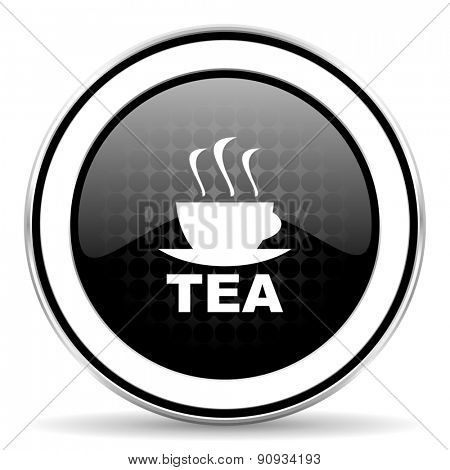 tea icon, black chrome button, hot cup of tea sign