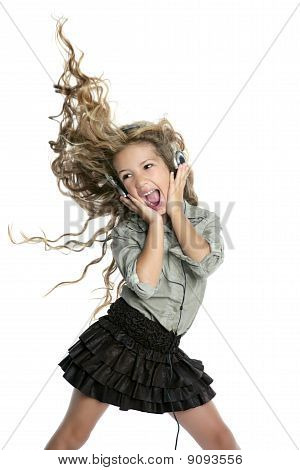 Dancing Little Blond Girl Headphones Music Singing