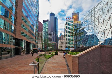 HONG KONG - DECEMBER 11, 2014: Hong Kong Special Administrative Region. Super-modern architectural design of buildings in Hong Kong. The original buildings of the business center of the region