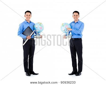 Asian teacher, professional man, compositing of two scenes, isolated on white background