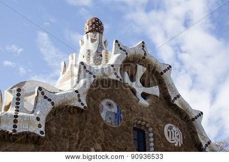 The roof of a gingerbread house in the Park Guell