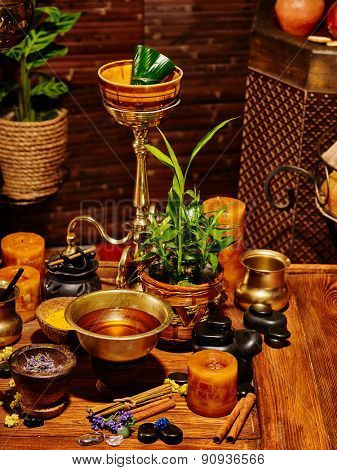 Luxury ayurvedic spa massage still life with bowl.