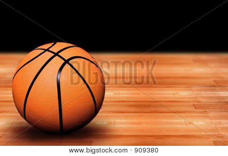 Basketball On A Court