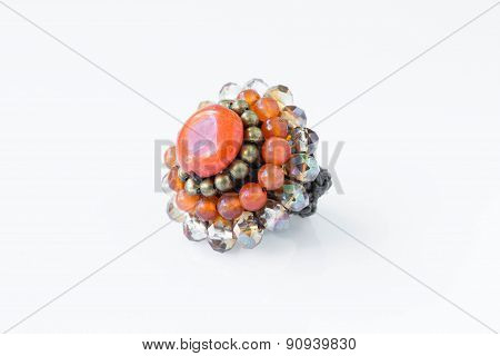 Orange Stone Ring On A White Background