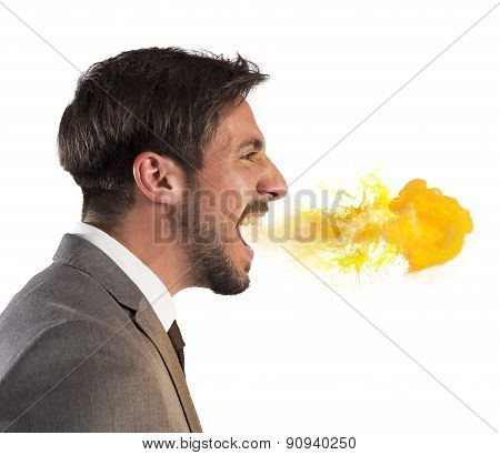 Businessman spits fire