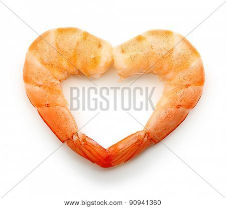 Cooked shrimp isolated on white background.