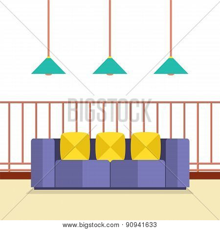 Colorful Sofa On Balcony With Ceiling Lamps.