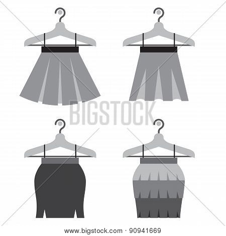 Black Women Skirts With Hangers.