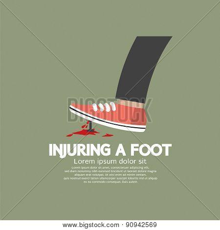 Injuring A Foot By Nail.