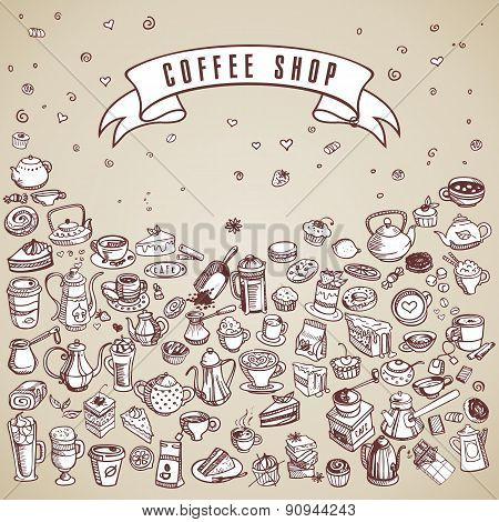 Hand Drawn Coffee Elements Set