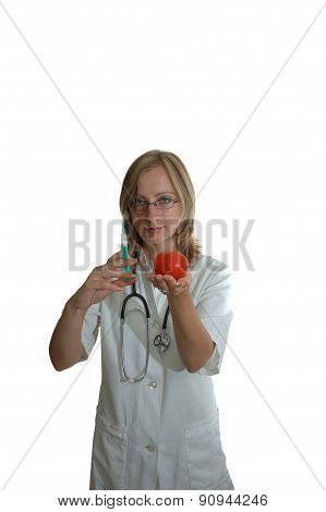Young Woman Doctor With Syringe