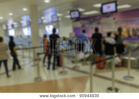 Blurred passenger in the thailand airport.Don Muang Bangkok.
