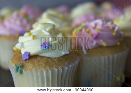 Vanilla cupcakes topped with Buttercream