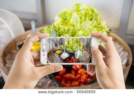 Taking Photo Of Salad Bar With Vegetables In The Restaurant.