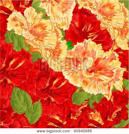 Red And Yellow Hibiscus Vector