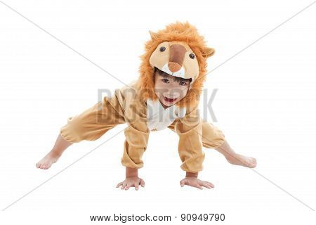 Cute Little Boy Dressed In Lion Suit