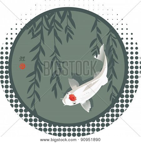 Koi carp and willow branches