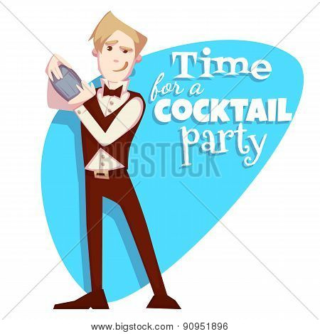 Vector illustration of barman for cocktail party