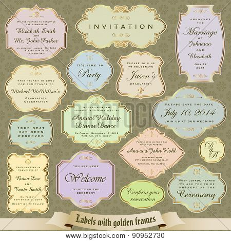 Labels in pastel colors with golden frames