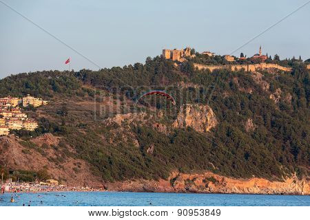 The paraglider over the beach of Cleopatra in Alanya. Turkey