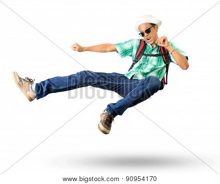 Young Man With Back Pack Sky Kick Jumping Action Isolated White Background