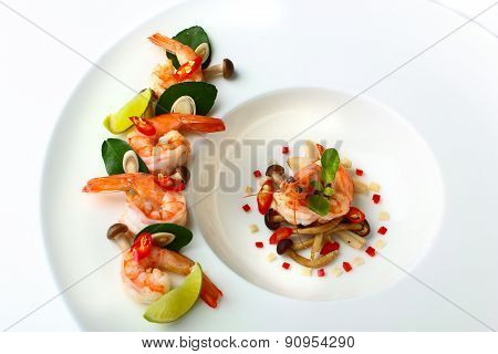 Thai favorite food Tom Yum Gung in modern plating style
