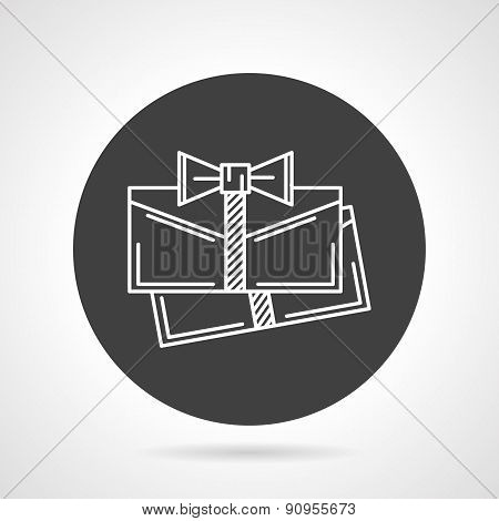 Present cards black round vector icon