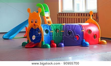 Plastic Tunnel For Children's Play In Preschool Hall