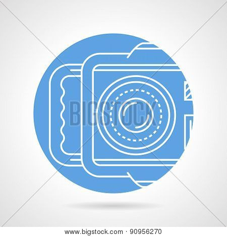 Camera blue round vector icon