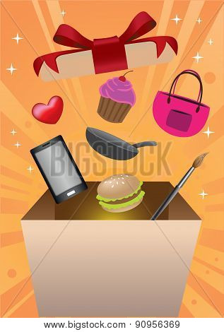 Shopping Gift Box Surprise Vector Illustration