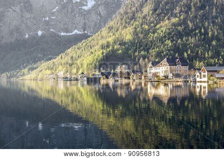 Hallstatt Town With Traditional Wooden Houses