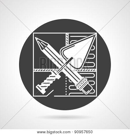 Repair black round vector icon