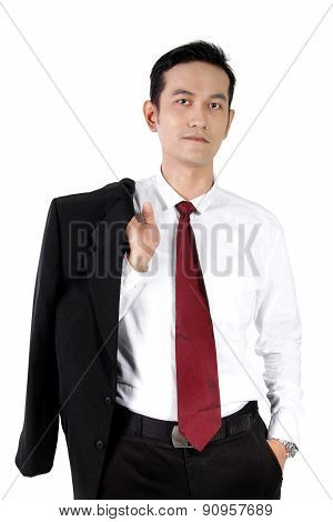 Casual Pose Of Young Asian Businessman, Isolated On White