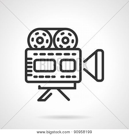 Movie camera black line vector icon