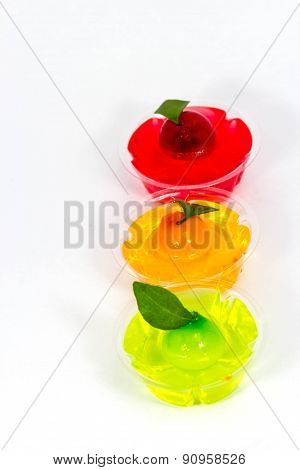 Deletable Imitation Fruits In Jelly ,thai Dessert On White Backg