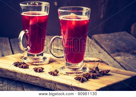 Vintage Photo Of Glasses With Mulled Wine