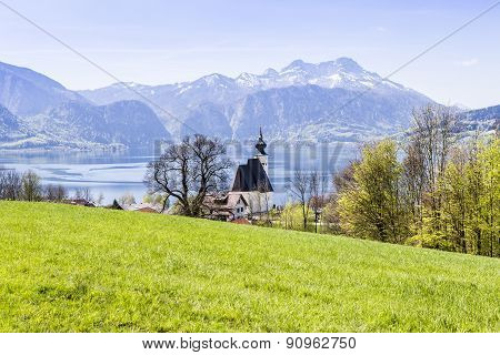 Church Sankt Andreas With Beautiful View To The Attersee In Austria