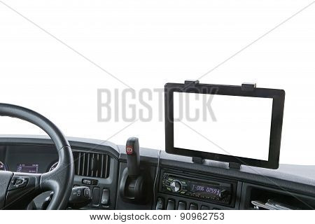Dashboard Of The Truck Isolated On The White Background