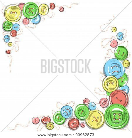 hand drawn isolated sewed buttons vector frame