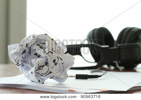 Composing Music Concept With Shallow Dof Evenly Matched Jack Of Headphone And Copy Space