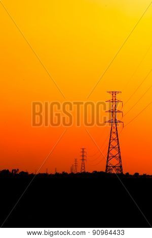 High Voltage Power Pole Middle Of A Cornfield
