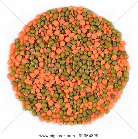 Mixture Of Green Mung Beans And Red Raw Lentil On A White