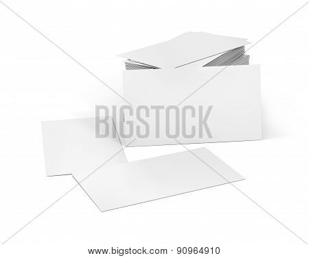 Stack Of Blank Business Card On White Background With Soft Shadows.
