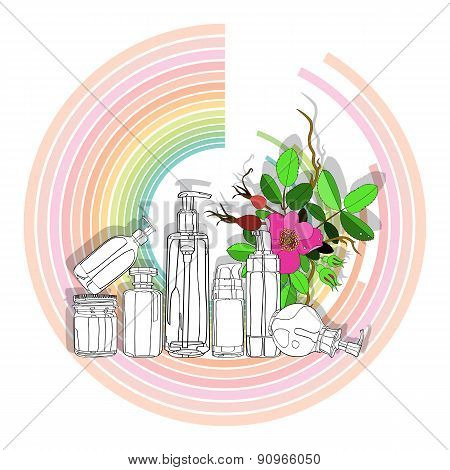 organic cosmetics on color diagram