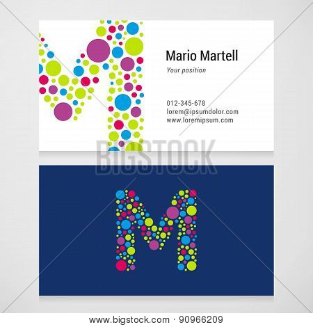 Modern Letter M Circle Business Card Template