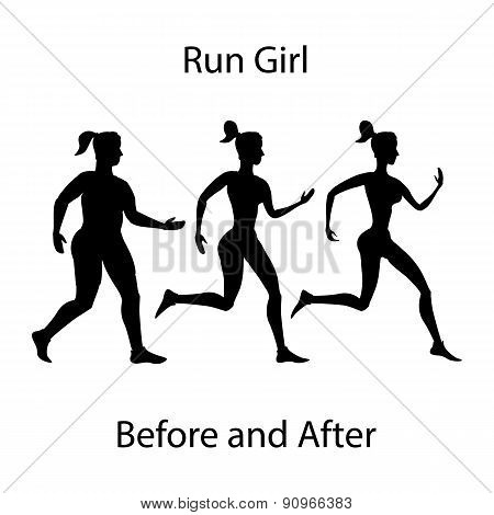 Simple Cartoon Woman Jogging, Before After Exercise Concept Run Girl