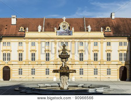Courtyard Of The Historic Melk Abbey, Austria