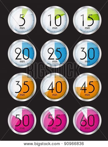 Silver Watch Designation Minutes. Vector Illustration
