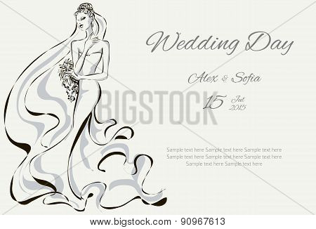Wedding Day invitation with beautiful fiancee