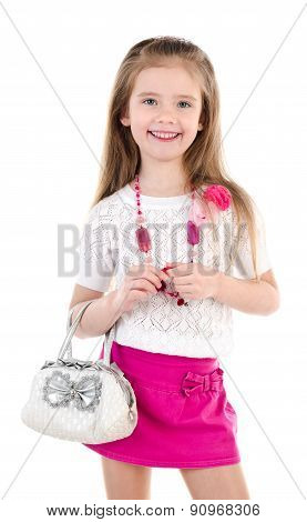 Adorable Happy Little Girl Posing With Bag Isolated